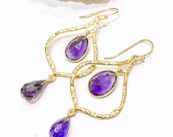 Purple Amethyst Statement Drop Earrings in Gold Vermeil