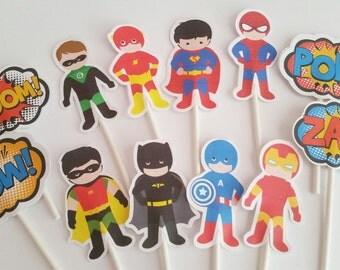 12 Superhero Cupcake Toppers, Superhero Party, Superhero Birthday, Cupcake Topper, Superhero Topper