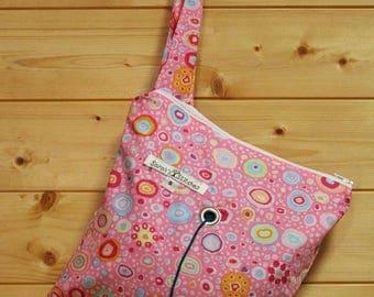 Knitting Bag, Crochet, Knit, Yarn, Wool, Pink Flowers, Yarn Storage, Yarn Bag with Hole, Grommet, Handle, SYB137