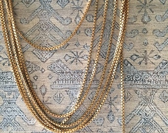 Vintage Box Chain, Tiny Brass Box Chain, 1.5mm, 6FT