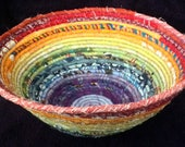 Large Upcycled Fabric Bowl Made From Fabric Scraps, Bright Rainbow