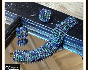 40% Jewelry Sale Vintage Bracelet Earrings Turquoise Green Blue Rhinestone Set FREE SHIPPING