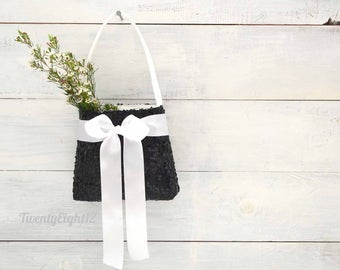 Flower Girl Basket with Black Sequin and White Satin Bow