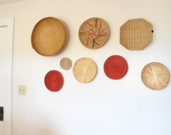 Vintage red accent boho basket wall / basket collection wall hanging / jungalow style
