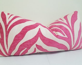 Pink Ivory Zebra Lumbar Picllow Cover - Decorative Pillow Cover -  Accent Cushion- Sofa Pillow - Toss Pillow
