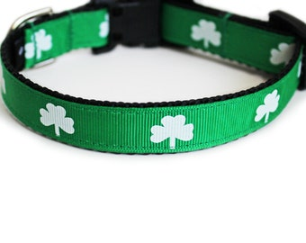 St Patricks Day Dog Collar, Shamrock Dog Collar, Clover, Irish Green, for Girl or Boy, Lucky, Small Dog Collar- Shamrocks