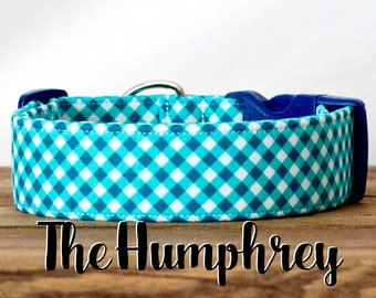 "Preppy Turquoise Blue Plaid Dog Collar  ""The Humphrey"""