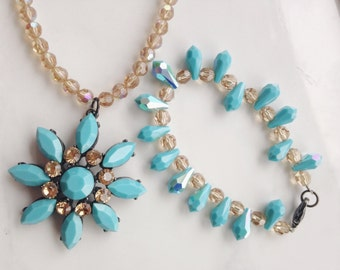 Turquoise Jewelry  Vintage Necklace  Bracelet Faceted Turquoise Beads Swarovski Crystals  Beads  Boho Jewelry Beach Jewelry Sets Wedding