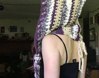 Purple Plush Crochet Elf Hood