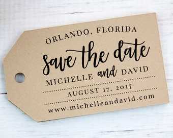Save the Date Tags - Save the Date Cards - Engagement Cards - Rustic Save the Date - 3.5 x 2 inches - 36 pieces