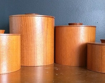 Vintage Mid Century Wooden Teak Canisters/Set of Four Retro Modern Kitchen Storage Containers