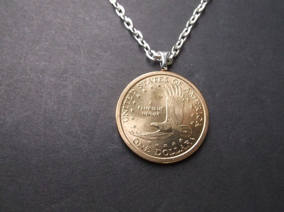 Sacagawea United States Gold Colored Dollar Coin Necklace