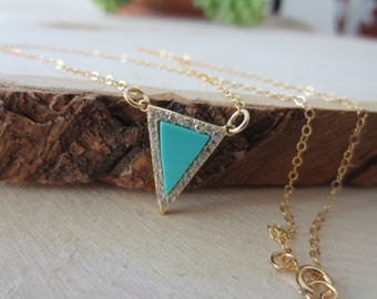 Triangle necklace, turquoise triangle necklace, geometric necklace, gold filled triangle necklace, gift for her