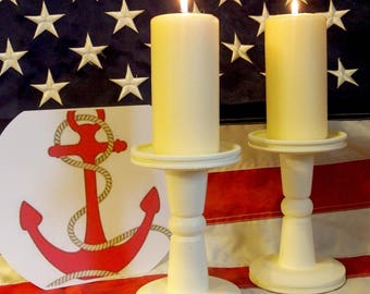 ANCHORS AWEIGH - Lathe-turned Set of 2 Ivory, 7-inch Candle Holders - Made in USA