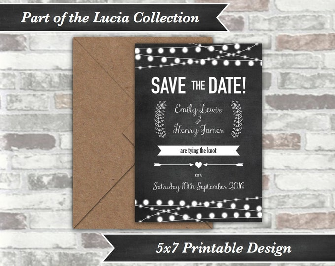 PRINTABLE Digital File - Lucia Collection - Personalised Wedding Save The Date Cards Postcards - Chalkboard Festoon Fairy Lights - 5x7