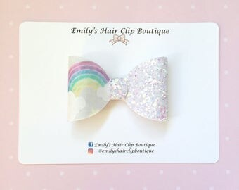 glitter hair bow, girls hair bow. Glitter hair clip. Rainbow hair bow. Rainbow hair clip