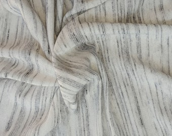 Gray Streaks on Off White Pima Cotton Blend French Terry Knit Fabric Yard 8/16