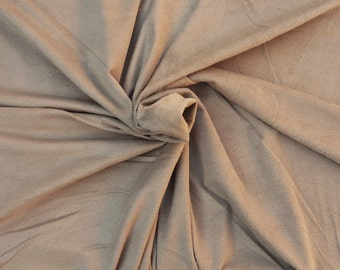 Khaki Microsuede Spandex Fabric Faux Suede by the Yard 1/17