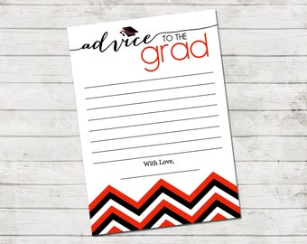 Advice to the Grad - Graduate Advice Card - Chevron Stripes - Red Black and White - Printable - INSTANT DOWNLOAD