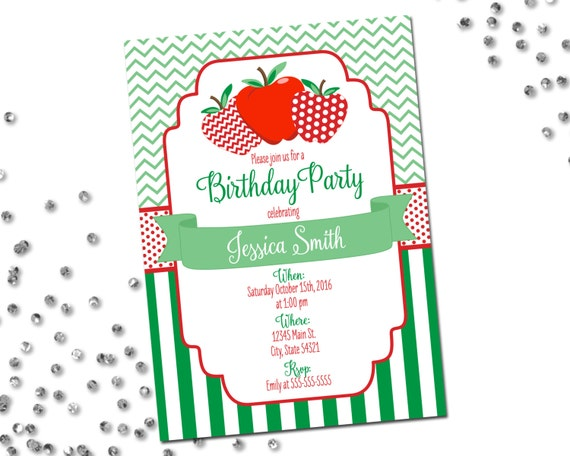 Apple birthday party invitation apple invitation red for Dots and stripes party theme