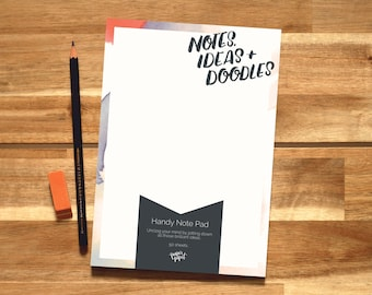 A5 Blank Notepad 'Notes, Ideas + Doodles' For the Stationery Lover // Gift For Planner Addict // Desk Pad // Organiser