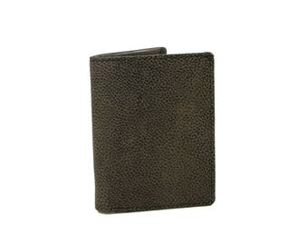 Mens Medium Slim Trifold  Genuine Leather Wallet Coins Africa Grey Black  9706