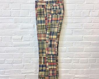 Vintage 1970s Patchwork Cotton Indian Madras Pants. Size 34x30 2225