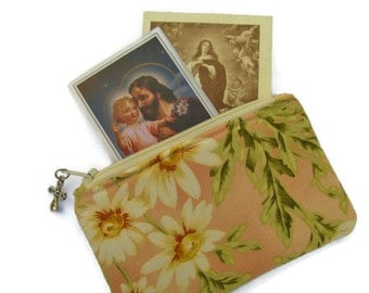 Ladies Large Rosary Pouch, Prayer Card Holder, Small Purse, Peach with Flowers, Gift Card Holder