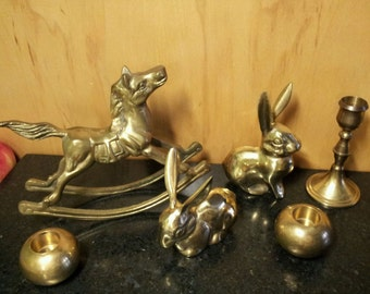 Vintage Brass Mantel Decor Candle Holder & Animal LOT 6 Piece Instant Hollywood Regency Collection, Bookshelf Display, Horse Rabbit Nursery