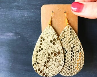 Gold Foil Snake Print Teardrop Leather Earring, leather statement earring, gold leather, snake leather teardrop earrings