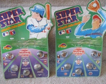 set Vintage Super Star Collectable Action Marbles Official Major League baseball marbles Sets #3 and #4 original packaging
