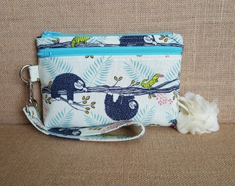 Cell Phone Wallet, Wristlet Wallet, Cell Phone Clutch with Removable Strap in Sloth Print