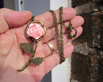 Gift for Her! Satin ROSE Solitaire big pendant w long brass chain- TULIP toggle clasp