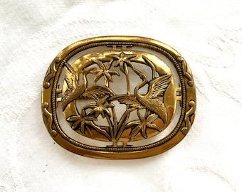 Art Nouveau Heron Brooch,  Vintage Bird Pin, Shorebird, Tropical Jewelry