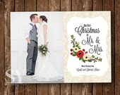 Photo Christmas Card, Holiday Card - Newly Wed Christmas, First Christmas as Mr and Mrs, 5x7