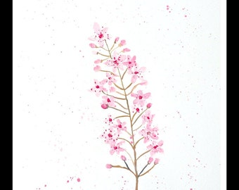 SALE Cherry blossom art Cherry blossom painting Wall art Pink flowers Floral painting Original watercolour gift for her 10 X 14 inches