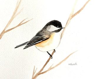 SALE Chickadee Original painting Chickadee art Bird illustration Bird artwork Wall art Bird lover gift idea Birthday present 10 x 7