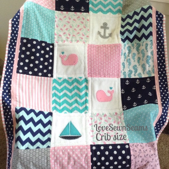 Pink Navy Teal Nautical Quilt Crib Size Quilt Seahorse Sea