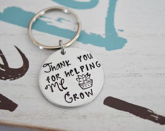 """Thank You For Helping ME Grow~Aluminum LIGHT WEIGHT~ Small 1.125"""" Key Chain"""