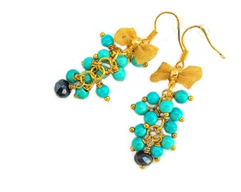 Turquoise with gold loop