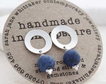 Silver Denim Earrings - Silver Drop Studs - Frosted Silver Blue Earrings - Matte Gemstone Earrings - Navy Studs - Denim Blue Stud Earrings