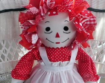 Red Fabric Hair 25 inch Raggedy Ann Doll Custom/Handmade Made in USA