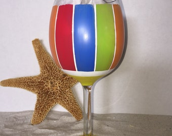 DBEG Hand Painted Pensacola beach ball wine glass