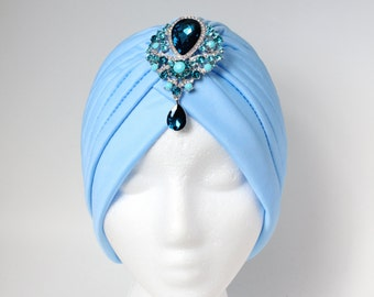 Blue Womans Turban Doo Rag For Women Hairloss Hat Cancer Patient Hat Cancer Patient Scarves Chemo Hat Tichel Hair Covering