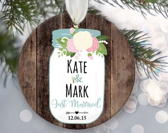 "Floral Mason Jar Personalized Christmas Ornament Just Engaged or Just Married Rustic fake ""Wood"" Ornament Newlywed Gift Wedding Gift OR518"