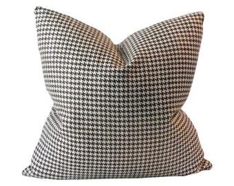 Brown and Cream Colored Houndstooth Pillow Cover