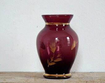 SMALL GLASS VASE - purple and gold vintage clear glass vase, flower vase, flowers bouquet, planter, table decor, home decor, glassware