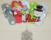 Beautiful Handmade Flip Flop Row Wreath Winter Holiday Snowman Beachy Door Wall Decor