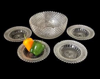 Vintage Salad Set 1930's Anchor Hocking Miss America Bowls Clear Crystal Depression Glass Five Bowl Set Serving Bowl and Four Small Bowls