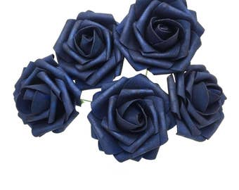 Navy blue wedding etsy navy blue wedding flowers navy blue roses artificial foam rose 100 stems for table centerpiece bridal junglespirit Images